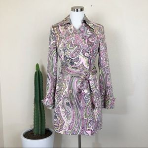 •ZARA• Pink Paisley Belted Retro 60s Trench Coat